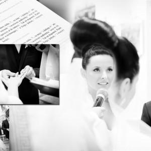 Na fotografii ślubnej Karolina i Marek składają przysięgę małżeńską w trakcie swojego ślubu w Bielsku