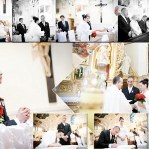 Zdjęcia ślubne Karoliny i Marka wykonane w kościele w Bielsku-Białej podczas ceremonii zawarcia małżeństwa