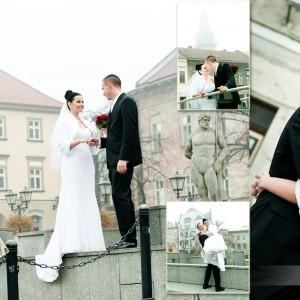 Karolina i Marek wzięli udział w sesji plenerowej w Bielsku zrealizowanej na starówce miasta