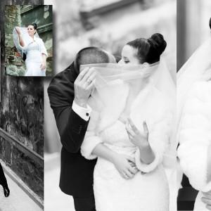 Nowożeńcy na fotografiach wykonanych na plenerze ślubnym w otoczeniu starówki Bielska-Białej