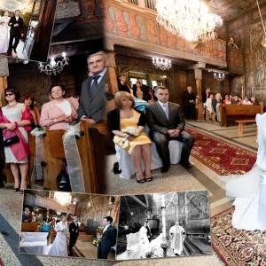 Fotografia ślubna uwieczniająca moment składania przysięgi małżeńskiej przez Agatę i Rafała w kościele w Bielsku