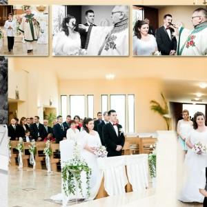 Na zdjęciach reportażu ślubnego Daria i Paweł składają przysięgę małżeńską na ślubie w Bielsku