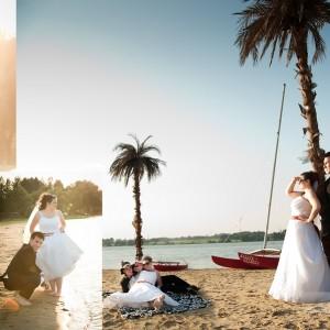 Reportaż ślubny pokazuje Darię i Pawła, parę z Bielska na wyjątkowej sesji plenerowej nad brzegiem morza