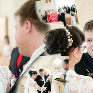 Fotograf uchwycił moment podpisania aktu małżeństwa przez Kamilę i Darka w kościele w Bielsku-Białej