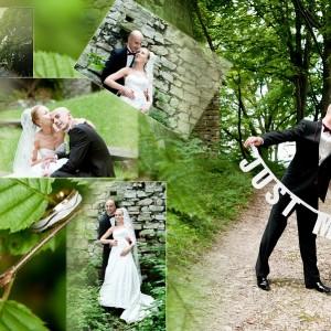 Plener ślubny Magdy i Olka wykonany w bajkowym parku pod Bielskiem w ubiegłym roku