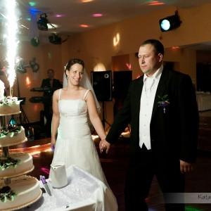 Na zdjęciach ślubnych muszą znaleźć się takie momenty jak krojenie tortu przez nowożeńców na weselu w Bielsku