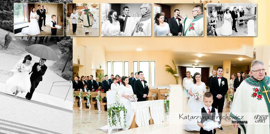 Jedna z kart fotokosiążki, zdjęcia z ceremonii, reportaż ślubny bielsko