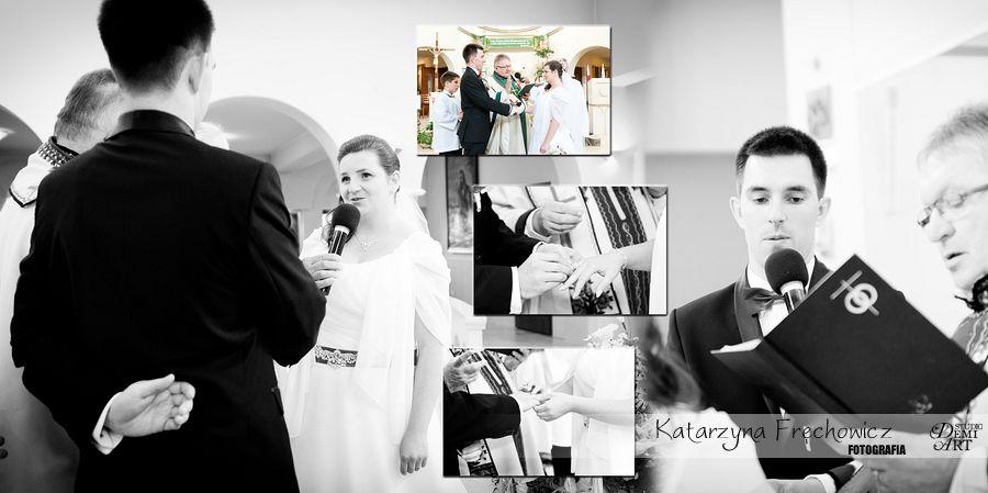 Karta z fotoksiążki, składanie przysięgi małżeńśkiej, reportaż ślubny bielsko